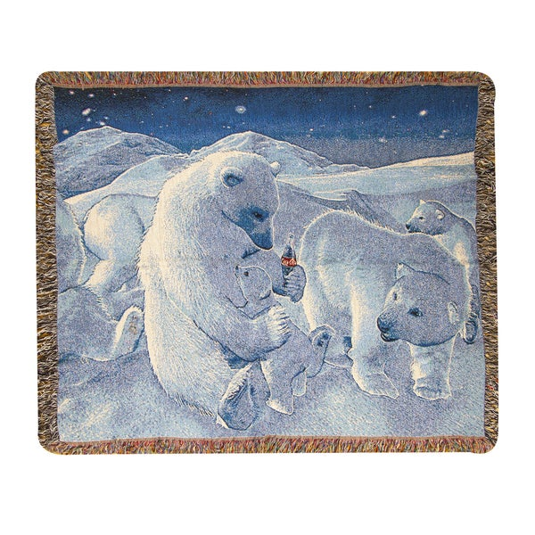 Manual Woodworkers Coke Polar Bear 50X60 Tapestry Throw