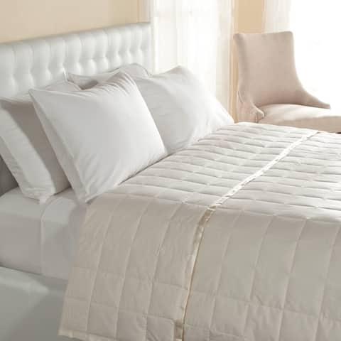 Lightweight Oversized Down Blanket with Satin Trim