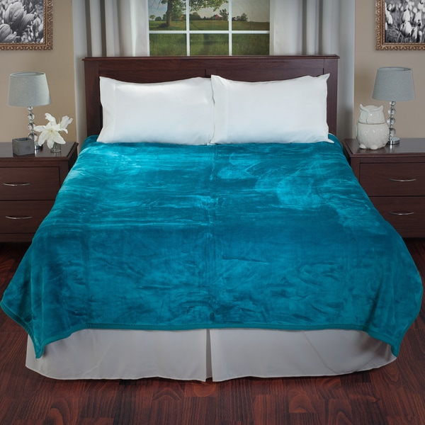 Windsor Home Soft Faux Mink Aqua Blue Queen Size Blanket