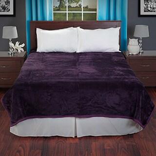 Lavish Home Soft Mink Purple Queen Size Blanket