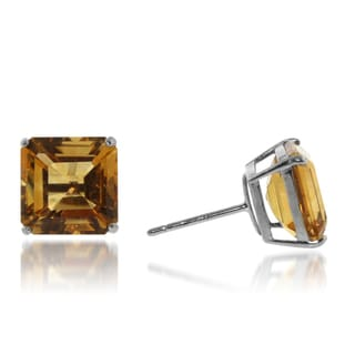 Gioelli Sterling Silver 10 mm Basket-set Citrine Stud Earrings