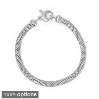 Gioelli Sterling Silver Flat Popcorn Bracelet