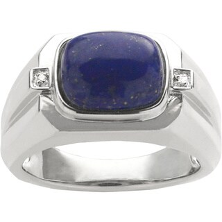 Gems For You Men's Sterling Silver Lapis and Diamond Accent Ring