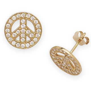 14k Yellow Gold Cubic Zirconia Peace Sign Earrings