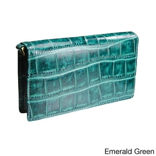 Castello Italian Leather Croc Print Smartphone Wristlet for iPhone 5 and 6