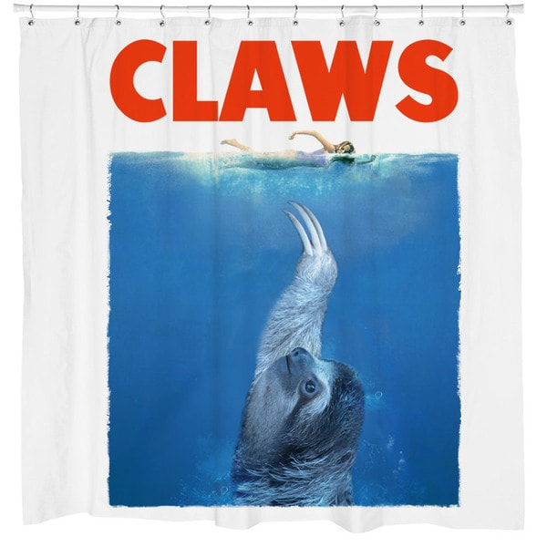 Shop White Claws Sloth Shower Curtain