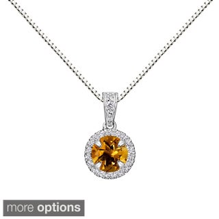 Sterling Silver Round Gemstone and Lab-created White Sapphire Halo Pendant Necklace