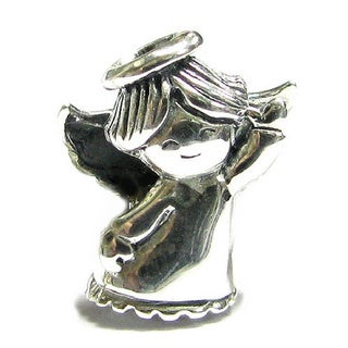 Queenberry Sterling Silver Dancing Angel European Bead Charm