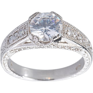 Kele & Co Sterling Silver Round Cubic Zirconia Engagement Ring