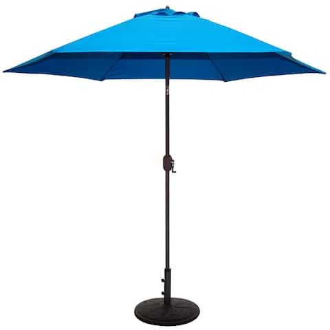 Tropishade 9 ft. Aluminum Bronze Patio Umbrella with Blue Cover