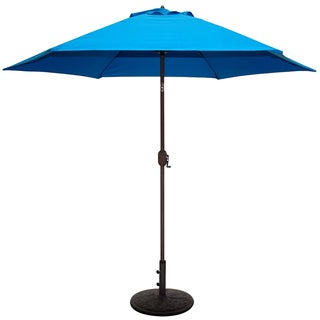 Tropishade 9 ft. Aluminum Bronze Patio Umbrella with Blue Cover