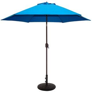 Aluminum Bronze Patio Umbrella With Blue Cover