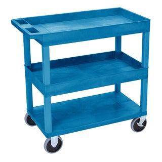 Luxor EC112HD-BU High Capacity 3 Shelf Blue Tub Cart