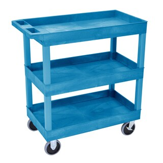 Luxor EC111HD-BU High Capacity 3-Shelf Blue Tub Cart