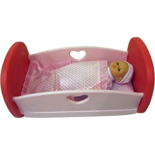 DimpleChild Pink and Red Baby Doll Cradle and Bedding with 12-inch Baby Doll