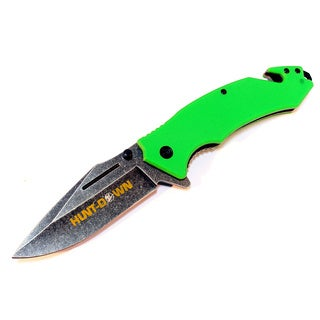 8.5-inch Hunt-Down Green Folding Spring Assisted Knife with Belt Clip