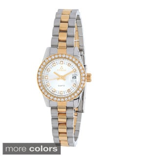 Fitron Women's 117110L Stainless Steel Crystal Accent Bezel Watch