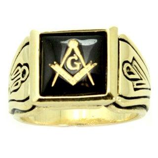 Stainless Steel Faux Onyx Stone Masonic Ring - Black (12)...