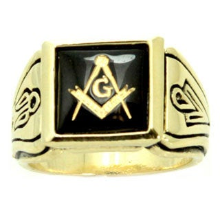 Stainless Steel Faux Onyx Stone Masonic Ring - Black