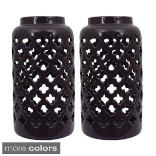 Ceramic Moroccan Pattern Lanterns (Set of Two)