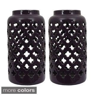 Ceramic Moroccan Pattern Lanterns (Set of Two)