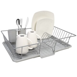Sweet Home Collection 3-piece Silver Dish Drainer Set  sc 1 st  Overstock.com & Extra Large Metal Wire Dish Rack with Drain Board - Free Shipping On ...