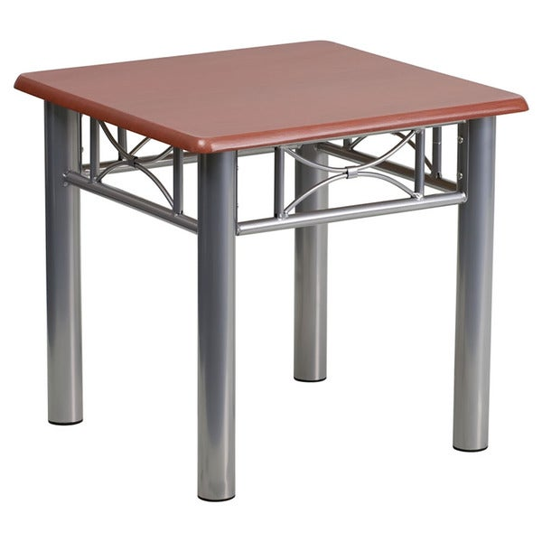 Offex Mahogany Laminate End Table with Silver Steel Frame