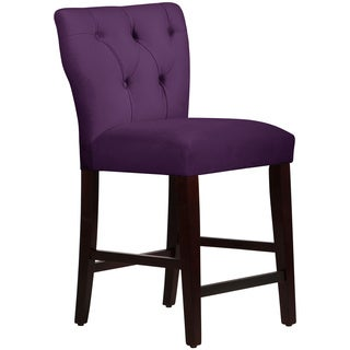 Skyline Furniture Tufted Hourglass Counter Stool in Velvet Aubergine