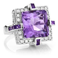 18k White Gold 4/5ct TDW Diamond and Amethyst Ring (H-I, SI1-SI2)