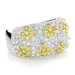 Luxurman 14k White Gold 2 3/5ct TDW Yellow and White Diamond Flower Ring