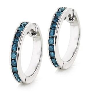 Luxurman 14k Gold Small Hoop 1/2ct TDW Blue Diamond Earrings