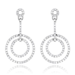 Luxurman 14k Gold 3/5ct TDW Diamond Circle Drop Earrings