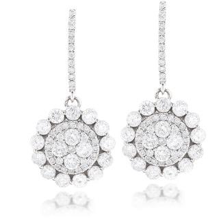 Luxurman 14k White Gold 3 4/5ct TDW Round Diamond Drop Earrings (G-H, VS1-VS2)