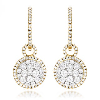 Luxurman 14k Gold 2ct TDW Diamond Cluster Earrings (G-H, VS1-VS2)