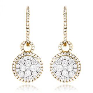 Ladies 14k Gold 2 Carats Diamond Cluster Earrings by Luxurman