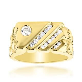 Luxurman 14k Yellow Gold Men's 5/8ct TDW Diamond Ring (H-I, SI1-SI2)