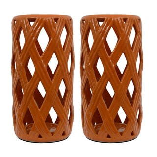 Orange Ceramic Loose Basket Weave Lanterns (Set of 2)