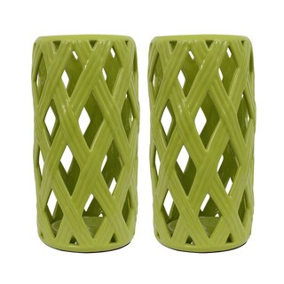 Green Ceramic Loose Basket Weave Lanterns (Set of 2)