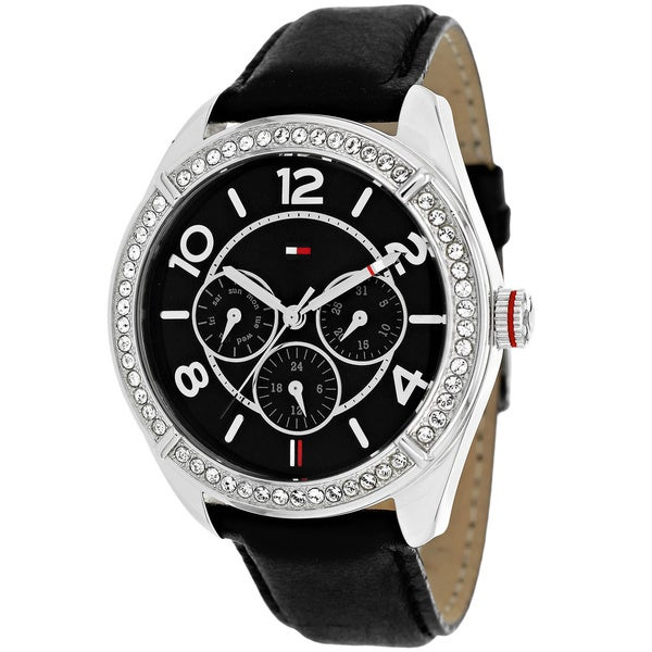 b0a53d0f2 Shop Tommy Hilfiger Women's 1781248 Classic Chronograph Black Leather Watch  - Free Shipping Today - Overstock - 9603950