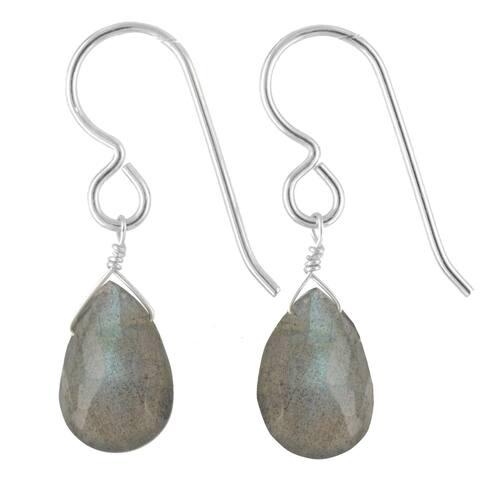 Silver Labradorite Gemstone Handmade Earrings