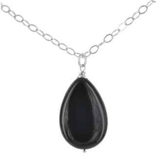 Ashanti Sterling Silver Black Onyx Gemstone Handmade Necklace (Sri Lanka)
