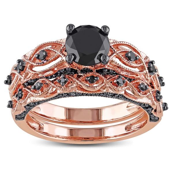 Miadora 10k Rose Gold with Black Rhodium 1 3/8ct TDW Black Diamond Infinity Bridal Ring Set