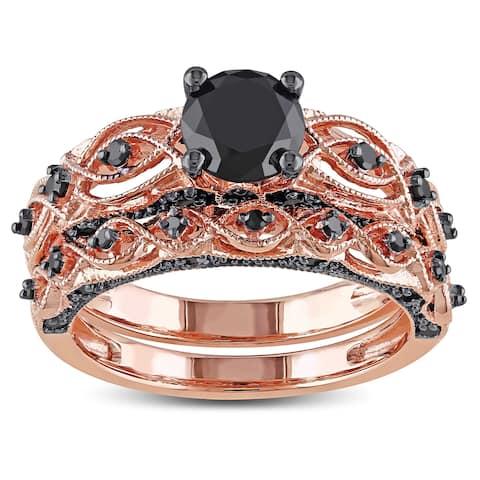 Miadora 10k Rose Gold with Black Rhodium 1 3/8ct TDW Black Diamond Infinity Bridal Ring Set - Pink