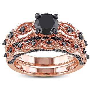 Miadora 10k Rose Gold with Black Rhodium 1 3/8ct TDW Black Diamond Infinity Bridal Ring Set|https://ak1.ostkcdn.com/images/products/9603976/P16789897.jpg?impolicy=medium
