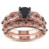 Miadora 10k Rose Gold with Black Rhodium 1 3/8ct TDW Black Diamond Infinity Bridal Ring Set