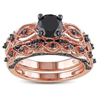 Miadora 10k Rose Gold with Black Rhodium 1 3/8ct TDW Black Diamond Infinity Bridal Ring Set - Pink