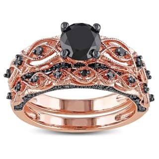 miadora 10k rose gold with black rhodium 1 38ct tdw black diamond infinity bridal - Rose Gold Wedding Ring Sets