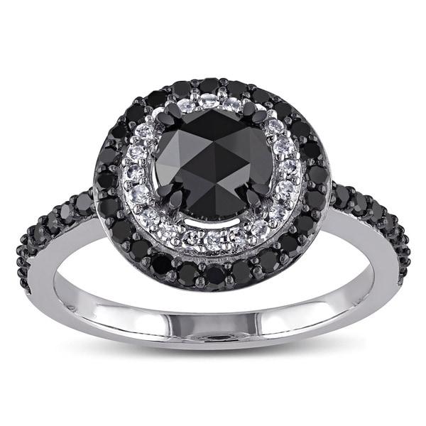 Miadora 10k White Gold 1 1/2ct TDW Rose-cut Black and White Diamond Double Halo Ring
