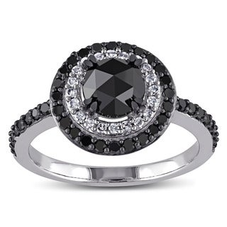 Miadora 10k White Gold 1 1/2ct TDW Rose-cut Black and White Diamond Double Halo Ring