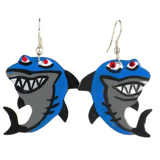 Handmade Painted Tin Shark Earrings (Kenya)